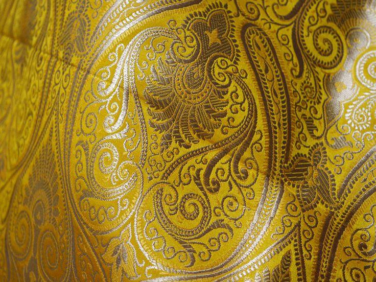 Yellow Brocade Fabric by the Yard Benarase Fabric