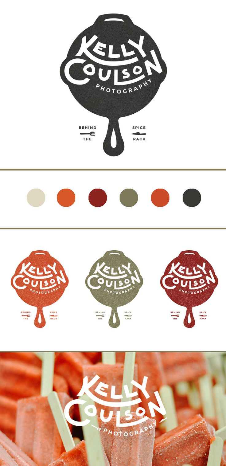 Kelly Coulson Food Photographer Logo. Complete brand board. Warm, rich tones and gorgeous nostalgic elements mixed with funky hand lettering