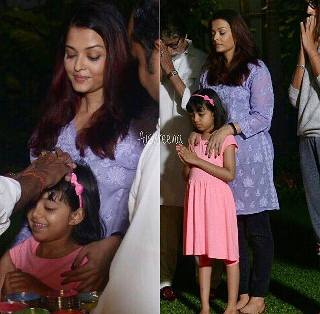 Aishwarya with her daughter Aaradhya Bachchan, Holi 2018
