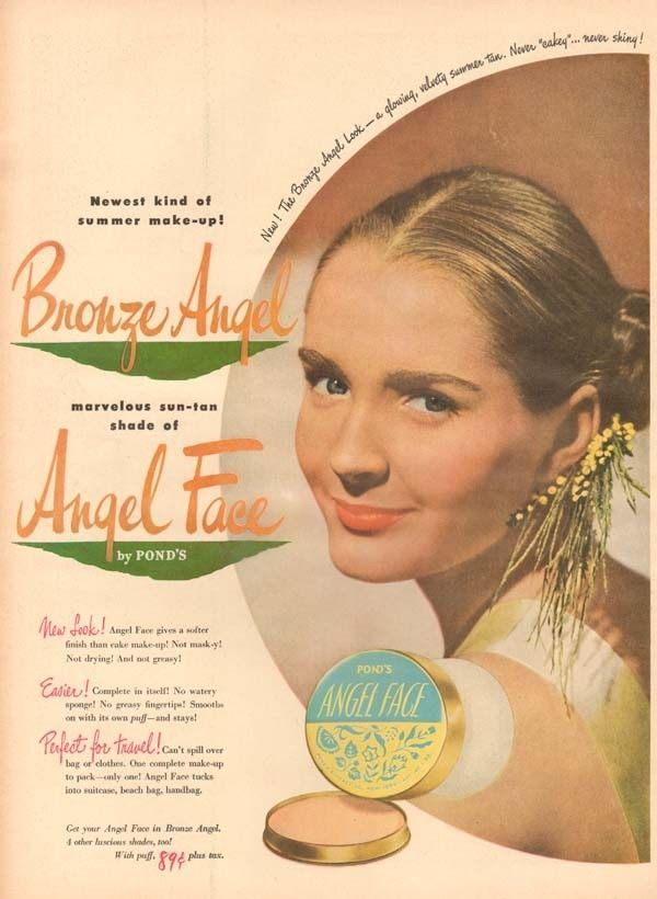 1940's vintage PONDS Angel Face BRONZER Powder BEAUTY COSMETIC Tan Model AD #Ponds