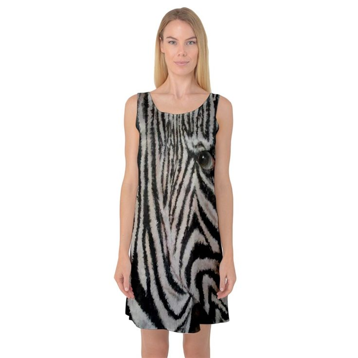 Unique+Zebra+Design+Sleeveless+Satin+Nightdresses