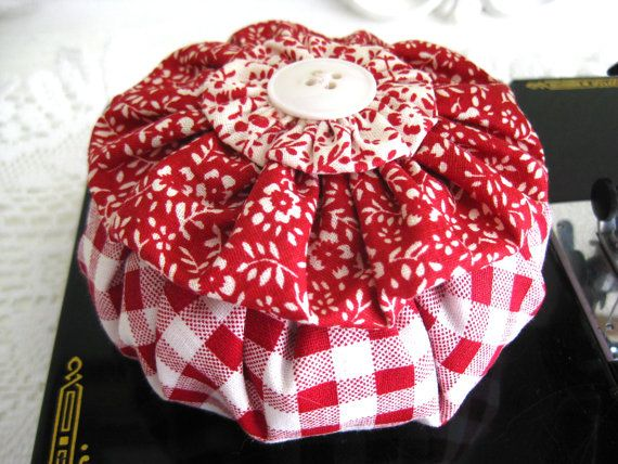 Ruffle YoYo Pincushion by SewMaryjane on Etsy, $15.00