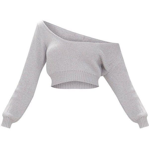 e3b3109857e40e Candy Pink V Neck Off Shoulder Soft Knitted Crop Jumper (265 ZAR) ❤ liked