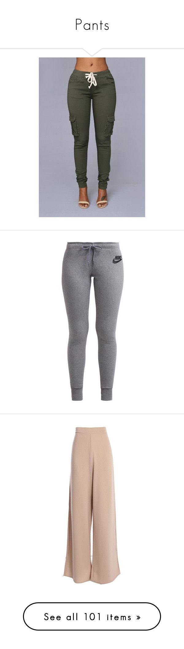 """""""Pants"""" by power-beauty ❤ liked on Polyvore featuring pants, sweatpants, army green pants, military green pants, olive pants, green camo pants, olive trousers, activewear, activewear pants and bottoms"""