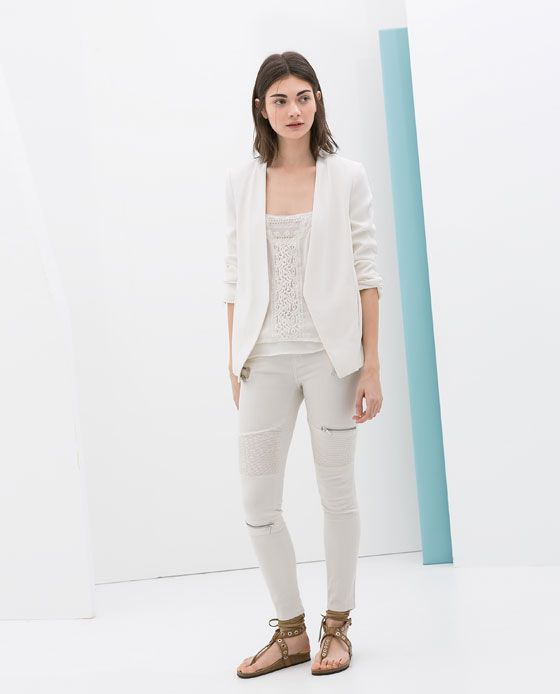 SKINNY TROUSERS WITH SEAMS AND ZIPS from Zara
