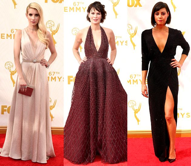 Plunging Necklines  Deep necklines weren't unexpected, but they showed much more sophistication as one of the Emmy Awards 2015 red carpet trends than at the MTV VMAs. Emma Roberts wore a custom Jenny Packham creation, while Aubrey Plaza opted for an Alexandre Vauthier Fall 2015 gown with a sexy plunge and a high slit. Lena Headey also impressed in her Zuhair Murad Fall 2015 Couture gown, and the Game of Thrones actress accessorized it with no less than $1 million worth of diamonds.