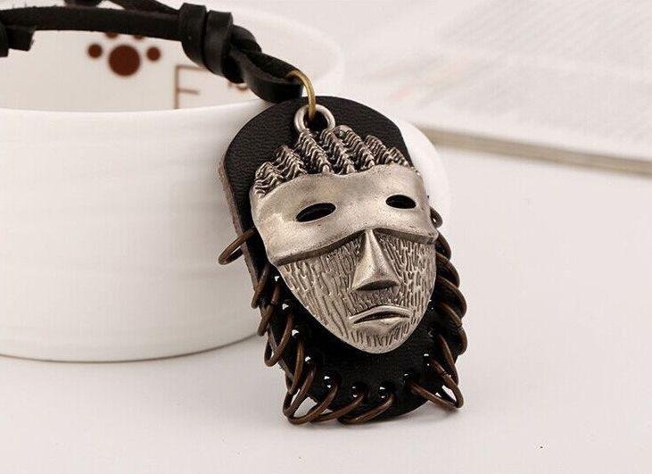 Mens Tribal Necklace | NEW AFRICAN VOODOO MASK PENDANT | male jewelry cowhide