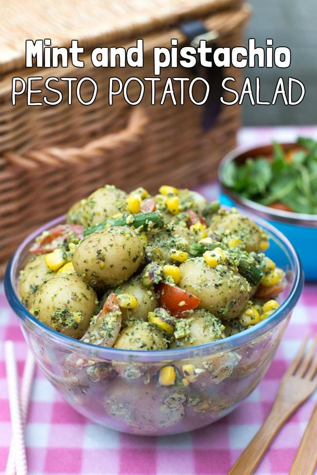 Mint and pistachio pesto potato salad - no mayo! This vegetarian potato salad is light and fresh, full of veggies, and perfect for BBQs and picnics! Gluten-free, and easily made vegan.