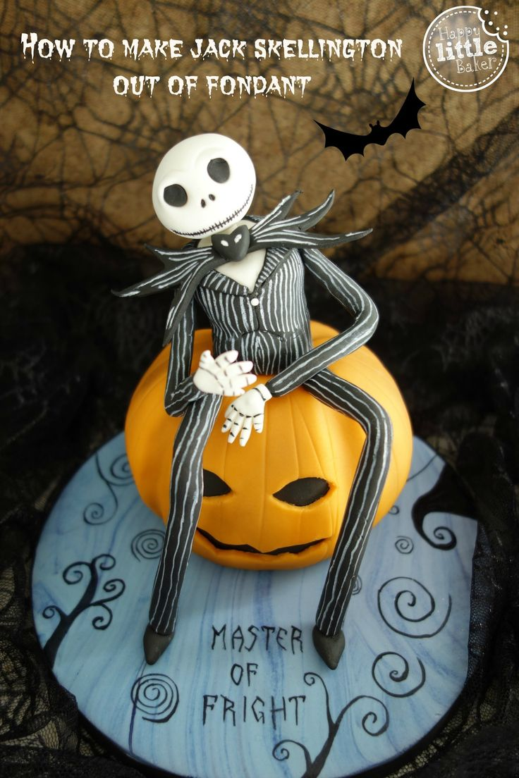 Jack is mostly made out of gumpaste or fondant strengthened with Tylose powder. Please don't make the mistake that I made and not allow the body parts to dry...