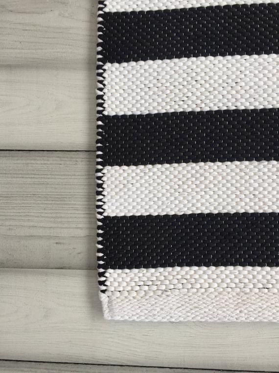 Black And White Striped Rug Runner Scandinavian Nursery Rug