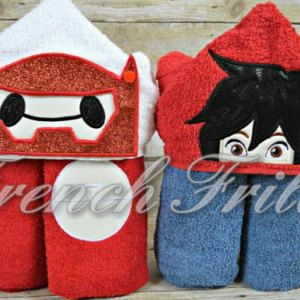 SET 5x7 of Both Inflatable Hero with REMOVABLE Helmet & Robot Builder 3D Hooded Towel Designs