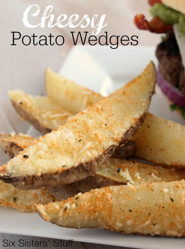 Cheesy Potato Wedges   SixSistersStuff.com