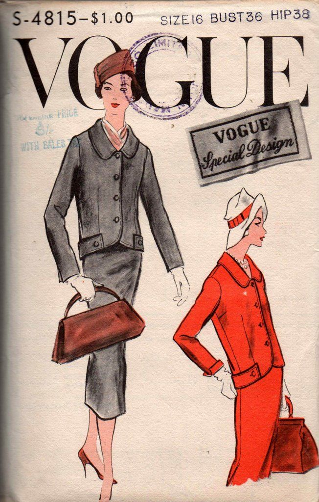 Vogue Special Design s-4815 Womens Skirt Suit 50s Vintage Sewing Pattern Size 16 Bust 36 inches
