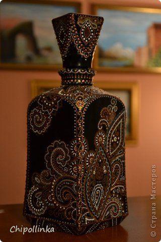 Декор предметов Роспись Кусочки Индии Бутылки стеклянные Краска фото 2