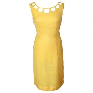 http://candysays.co.uk/canary-yellow-linen-vintage-1960s-fitted-cocktail-dress-cut-out-neckline: Canary Yellow, Cocktails Dresses, Yellow Linens Dresses, Fit Cocktails, 1960S, Linens Club, Cocktail Dresses, Linens Vintage, Linens Cocktails