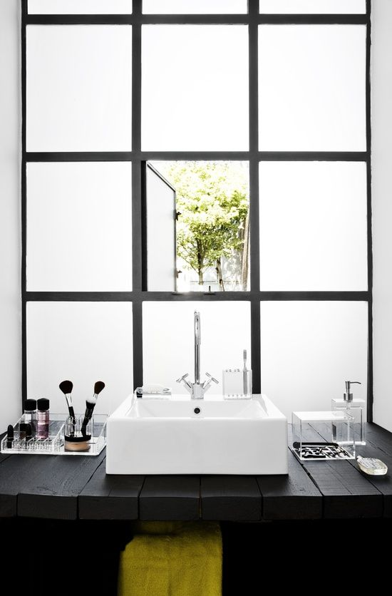 Superb Bathroom With A View, Black Frame Windows, Frosted Opaque Glass, Black  Counter,