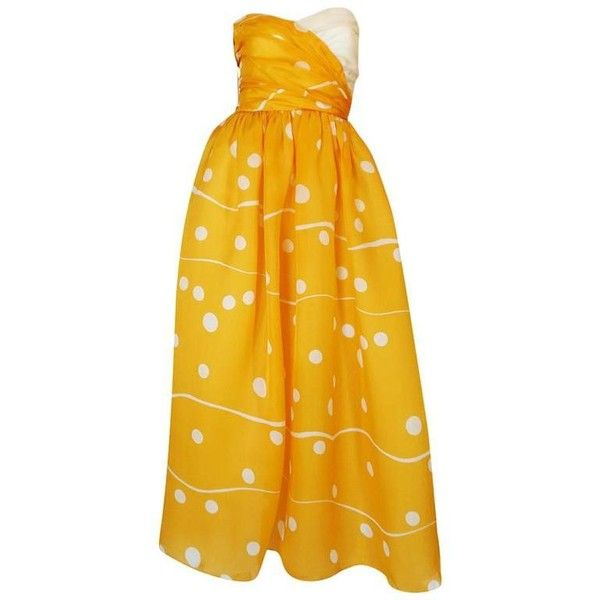 Preowned Romantic 1970s Bill Blass Yellow Print Silk Strapless Dress ($1,500) ❤ liked on Polyvore featuring dresses, yellow, wrap dress, yellow evening dress, yellow silk dress, special occasion dresses and wrap evening dress