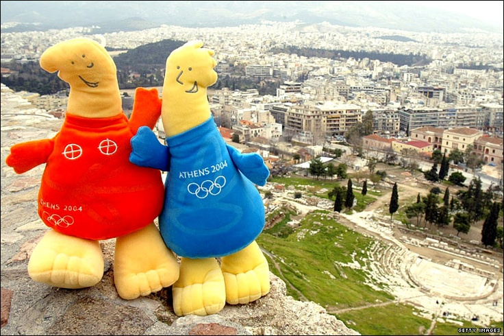 Athens Olympics 2004 ~ ancient Greek dolls ~ Athena & Phevos ~ Phevos was one of two official Athens 2004 mascots. His name came from Phevos, the god of light and music, also known as Apollo. Phevos and his sister, Athena, represented the link between Greek history and the modern Olympic Games.