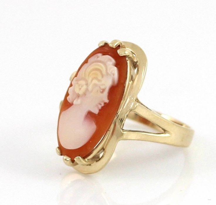 Vintage Solid 10K Yellow Gold Cameo Ring Size 5 #Cameo