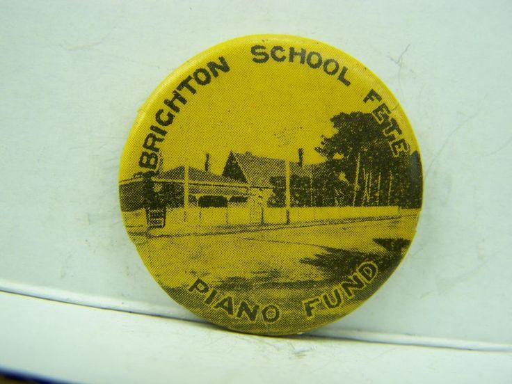 Pin back badge 1920's Brighton School Fete 'Piano Fund' South Australia SA  541