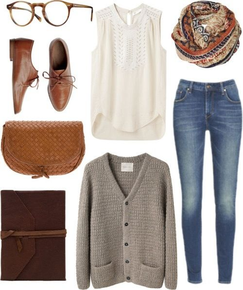 Loose/large cardigan. Brown oxford shoes. Infinity scarf. Skinny jeans.