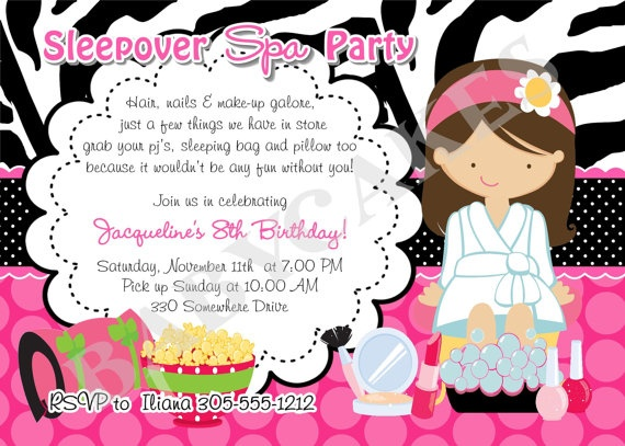 sleepover spa party invitation spa sleepover invitation invite pajama party pamper party slumber party diy printable choose your girl - Pamper Party Invitations