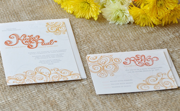 Quilling Flowers Wedding Invitation & RSVP by KellaCompany on Etsy, $4.00