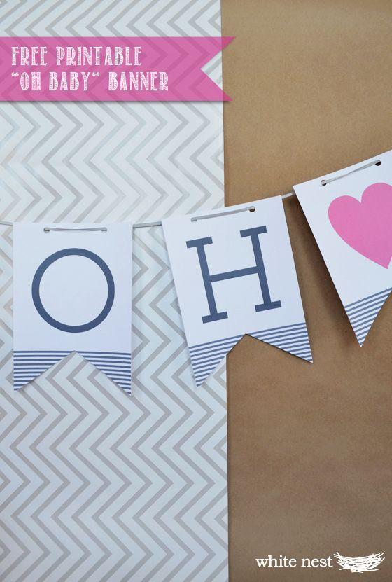 Baby Shower Banner Ideas Diy ~ White nest diy baby shower ideas free printable quot oh banner party