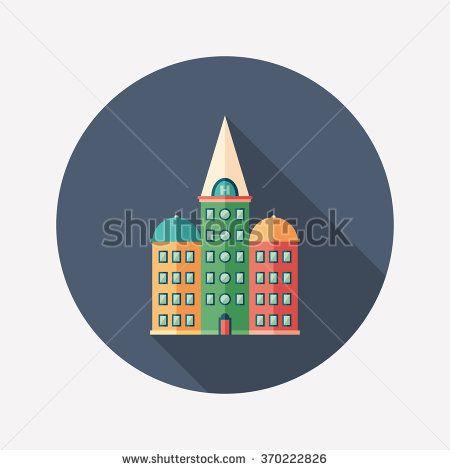 Retro hotel flat round icon with long shadows. #buildingicon #flaticons #vectoricons #flatdesign