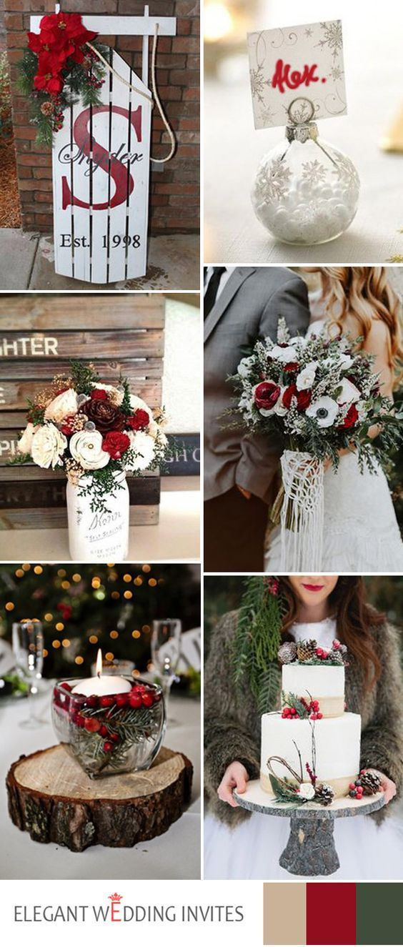red and white christmas wedding color ideas for winter