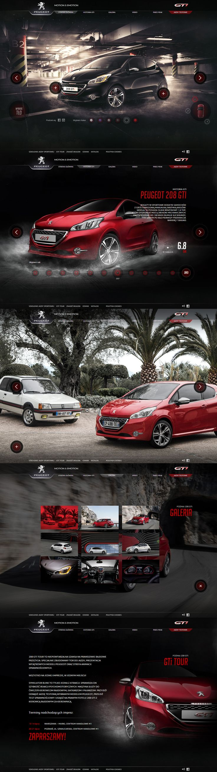 GTi is back! - Peugot 208 GTI website by Kuba Bogaczyński (Charakterny) via Behance http://208gti.peugeot.pl/