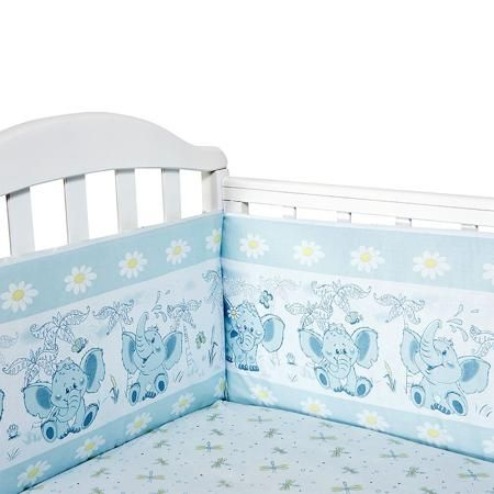 Baby Nice Бортик для кровати Слоненок цвет голубой  — 1785р. --- Борт в кроватку (его ещё называют бампер) является отличной защитой малыша от сквозняков и ударов при поворотах в кроватке. Ткань верха: 100% хлопок, наполнитель: экологически чистый нетканый материал для мягкой мебели — периотек. Дизайны бортов сочетаются с дизайнами постельного белья, так что, можно самостоятельно сделать полный комплект, идеальный для сна. Борта в кроватку — мягкие удобные долговечные: надежная и эстетичная…