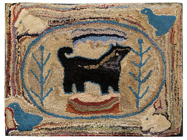 Wool And Cotton Pictorial Hooked Rug   Milleru0027s Antiques U0026 Collectables  Price Guide