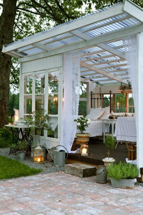 Recycled window outdoor room. This would make a great studio!