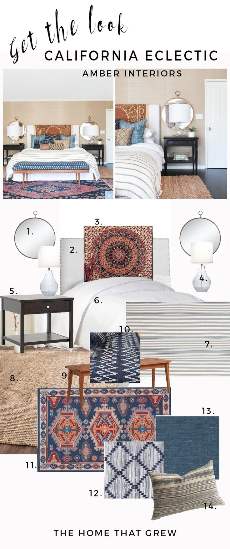 Inspired by this California Eclectic Master Bedroom by Amber Interiors. This room is a perfect mix of bohemian, eclectic, a little mid century modern even! Indigo textiles and layered pillows and rugs warms this boho space. Click through to score all the goods.