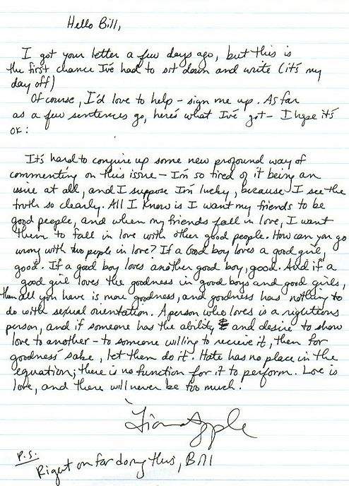 The letter Fiona Apple wrote in 2000 to a 16-year-old fan in support of his high school's Gay-Straight Alliance.