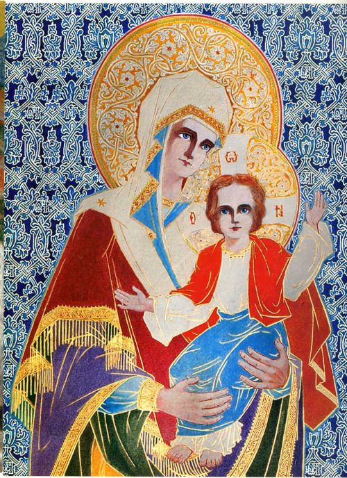 Wonderful icons made by father Arsenie Boca. This one represents our Holy Mother Mary and little Jesus pictured bz Father Arsenie in the Draganescu church.