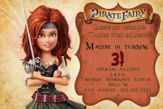 Pirate Fairy  Zarina Invite-Pirate Fairy by KidzPartyPrintables