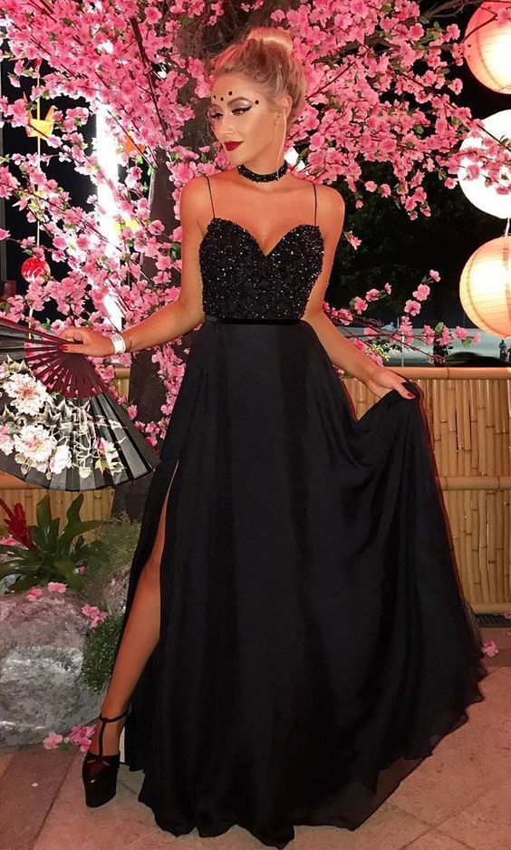 abbd7d810e0 A Line Spaghetti Straps Floor Length Black Prom Dress With Split ...