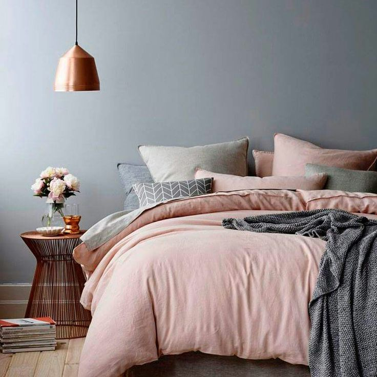 Shades of grey with blush, bedroom