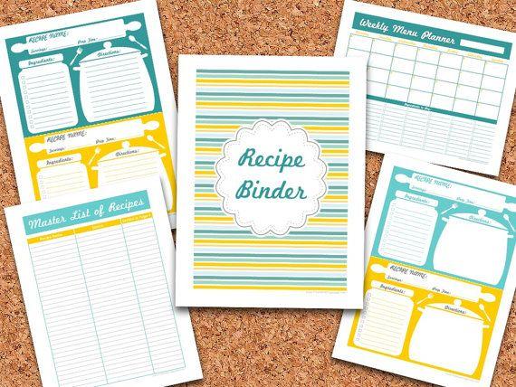 homemade cookbooks template - diy recipe binder set recipe organizer editable
