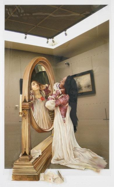 The Costume of Painter - W.House 080831  2008  oil on vinyl, vinyl on photograph  252 x 154cm