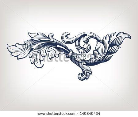 vector de elemento de patrón de desplazamiento antiguo del marco del diseño barroco grabado en estilo retro