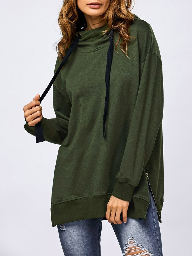 Hoodies | Army green Drawstring Side Slit Hoodie - Gamiss