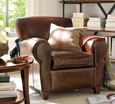 Decor Look Alikes | Pottery Barn Manhattan Leather Chair and Ottoman $1995 vs $1199 @Ballard Designs