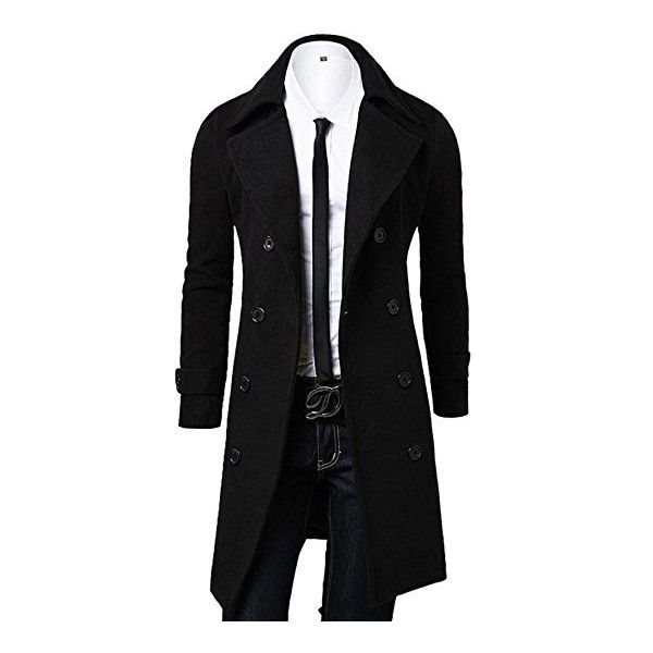 OCHENTA Men's Double Breasted Turn Down Collar Woolen Overcoat ($21) ❤ liked on Polyvore featuring men's fashion, men's clothing, men's outerwear, men's coats, mens double breasted wool coat, mens wool coats, mens fur collar overcoat, mens double breasted coat and mens wool outerwear