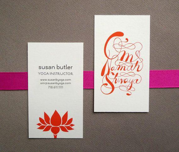 100 Custom Yoga Calling Cards - Lotus design via Etsy