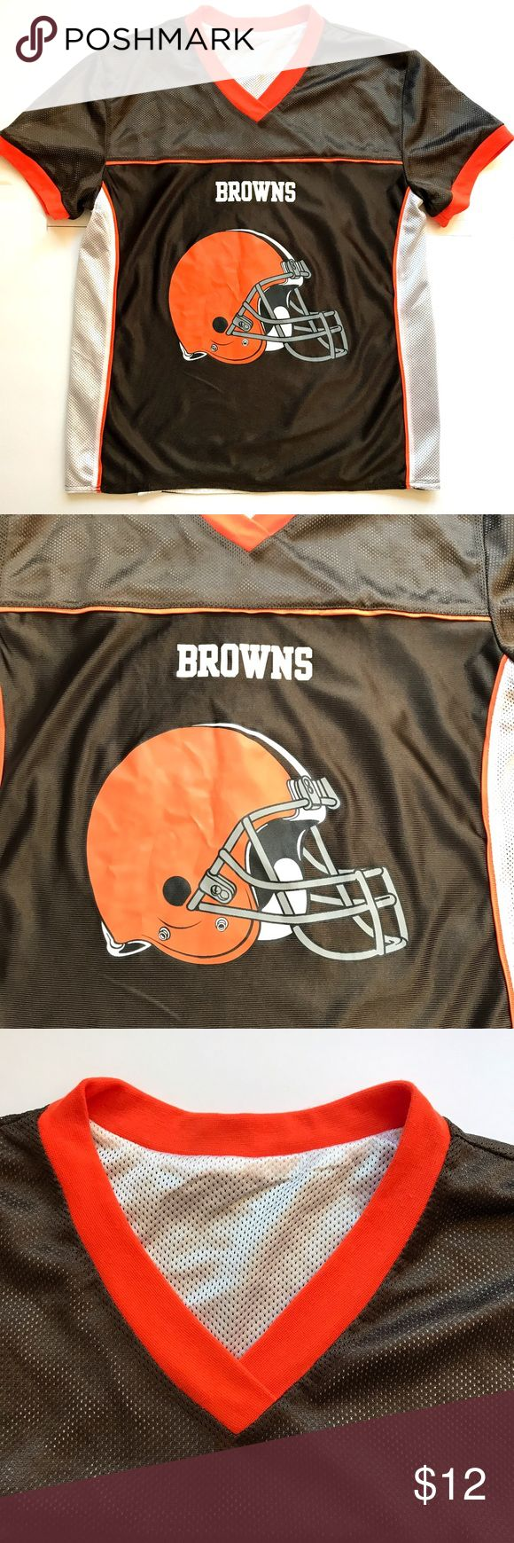 "NFL Browns jersey Browns NFL jersey!  •D E T A I L S•  Size: Small (Adult) Color: Brown, white, orange Chest: 19""  laid flat Length: 25"" Material: 100% Polyester Description: Show your team spirit in this like-new athletic short sleeve jersey for the Browns NFL team! Graphics on front and back. You can easily add a name to the back if desired. Soft and comfortable. Machine wash. Shirts"