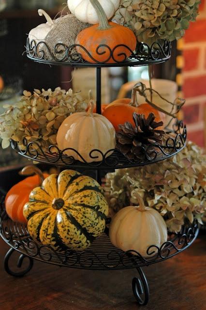 fall halloween thanksgiving centerpiece on tiered stand displays mini pumpkins gourds hydrangeas - Halloween Cupcake Holder