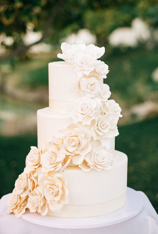 Simply elegant off-white three tier wedding cake wrapped with sugar flowers; Featured Photographer: Jenna Bechtholt Photography                                                                                                                                                                                 More